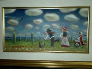 Reijo Kivijärven maalaus, joka bumerangilevyn kantta koristaa.